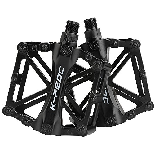 boruizhen Bike Platform Pedals Lightweight Road Cycling Bicycle Pedals for MTB BMX (Black)