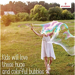 Atlasonix Giant Bubbles Mix - Makes 7 Gallons of Big Pure Bubble Solution for Kids | Non Toxic All Natural Bubble Concentrate for the Largest Bubbles | Birthdays, Outdoor Family Fun for Girls and Boys