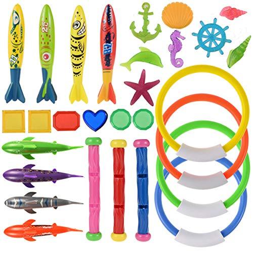 Nabance 29Stk Tauchspielzeug Tauchen Spielzeug Unterwasser Schwimmbad Spielzeug, 4*Tauchringe, 4*Toypedo Bandits, 3*Tauchsticks, 6*Edelsteine, 4*Hai, 8* Marinespielzeug, Sommer Spaß für Kinder