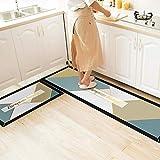 ACAMPTAR Küchenbodenmatte, Wasser- und Öl-Absorption, rutschfest, schmutzabweisend, Küchenleiste, Türvorleger A1_40 x 120 cm + 40 x 60 cm