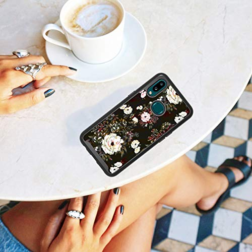 ShinyMax Galaxy A10S Case with Roses Design,Samsung A10S Phone Case,Hybrid Triple Layer Armor Protective Cover Flexible Sturdy Anti-Scratch Shockproof Cute Case for Women and Girls-Flowers/Black