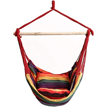 Amazon Com Dasuy Hammock Swing Chair Hanging Rope Chair Outdoor Indoor Hammock Net Chair For Kids Baby Adult Camping Chair With Two Cushions Multicolor 39 4 43 3 Inch Furniture Decor