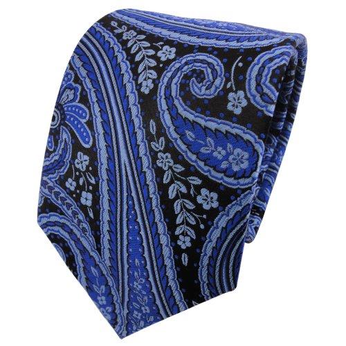 TigerTie Seidenkrawatte blau ultramarinblau anthrazit schwarz parsley - Krawatte 100% Seide