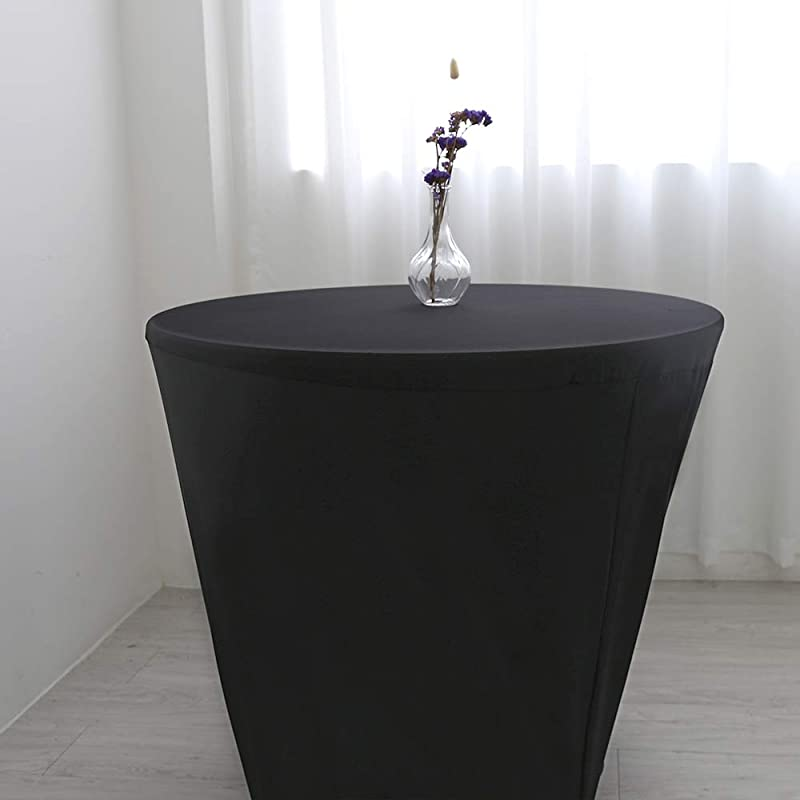 Zdada Black Spandex Table Cover Round Stretch Tablecloth For Wedding Party 48inch