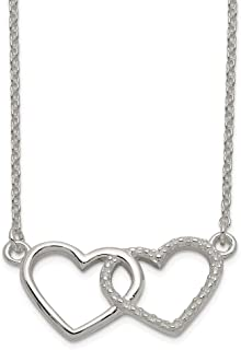 925 Sterling Silver/textured Double Heart Chain Necklace Pendant Charm S/love Fine Jewelry Gifts For Women For Her