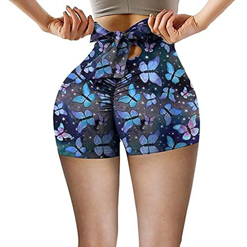 Pantalones Cortos Leggings Mujeres Arco Pantalones de Yoga Cintura Alta Levantamiento de Tope de elevación Control de elevación de Cadera Medias, Adecuado para Todas Las Mujeres