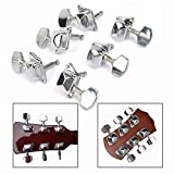 OFKPO 6PCS Machine Head Clavijas de Afinación para Guitarra Color Silver