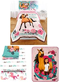 DreamWorks Spirit Riding Free Giddy up 5 pc Twin Bedding Bundled Set-Includes Super Soft Reversible Comforter, Sheets and Plush Throw