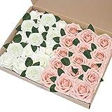 EQLEF Rose Artificielle Blanche, Bricolage Faux Roses Fleur décorations Cadeau de Mousse de Roses pour la décoration de fête de Mariage Affichage Rose et Ivoire -30pcs (Rose et Ivoire)