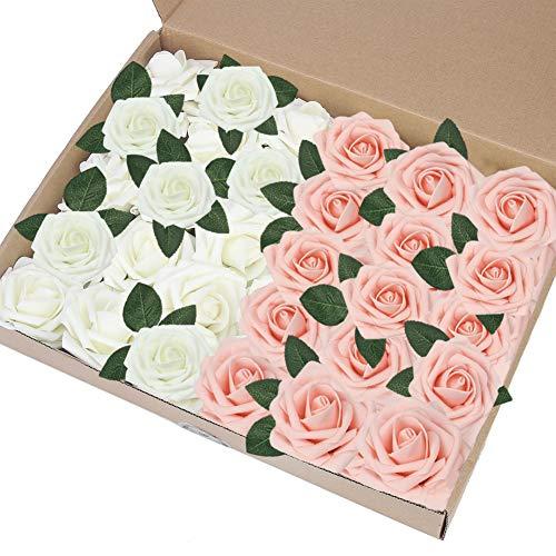 EQLEF Kunstrosen rosa Weiss, DIY fälscht Rose Blumendekorationen Schaum Rosen Geschenk für Hochzeitsfest-Dekoration-Anzeigen-Rosa und Elfenbein (pink und Elfenbein)