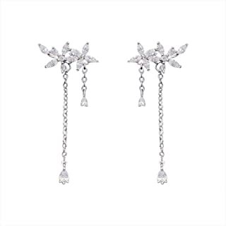 Sterling Silver Flower Tassels Drop Earrings Diamond Crack Shining Earrings Anti Allergy Fashion Ear Ornaments Jinlyp (Color : Silver, Size : 925 Silver)