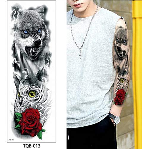 4 UNIDS, 48 * 17 cm Brazo Etiqueta engomada del tatuaje temporal colorido Lotus diseños de carpa Fake Tattoo Sleeves Flash Tatto impermeable Body Art Hombre Mujer, TQB13