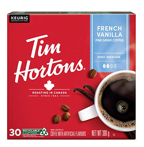 Tim Hortons French Vanilla Coffee, Keurig K-Cup Pods, Flavoured Medium Roast, 30 Count {Imported from Canada}
