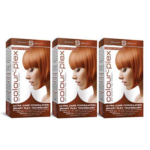 Smart Beauty Tinte de Pelo Permanente, Larga Duración Moda Color con Nutritivo Nio-Active Plex Tratamiento Capilar, 150ML Paquete X 3 Save 20% - Ámbar