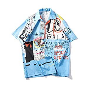 MIMIPO シャツ メンズ 半袖 アロハシャツ 綿 軽量 通気性 花柄 開襟シャツ おしゃれ ファンション 夏 S-2XL (ブルー, M)