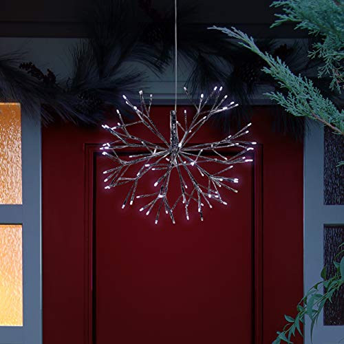 Alpine Corporation CRD100L-WT Large Christmas Snowflake Ornament with LED Lights Indoor Festive Holiday Décor, 16-Inch, White