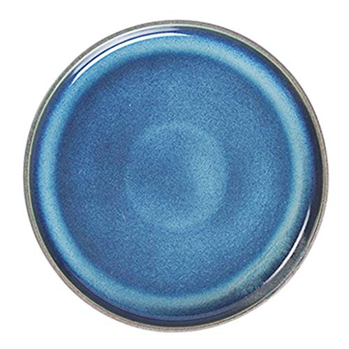 Dinner Plates Blue Ceramic Tableware Creative Plate Blue Retro Plate Ceramic Dish Home Large Flat Western Steak Plate 10inches Dinner Plate (Color : Blue, Size : 25.5cm/10 inches)
