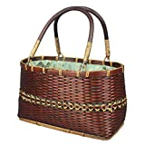 Weave Bamboo Handbag Bag Women's Tote Handwoven Basket Handmade Gifts Crafts Storage Shopping,Tote-24X13X14cm
