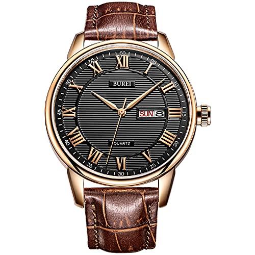 BUREI Classic día y Fecha Unisex Reloj con números Romanos y Negro Dial de Banda marrón (marrón)