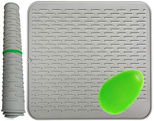 58x46cm, Alfombrilla Escurreplatos de Silicona Mat soporte de silicona, salvamanteles estera, impermeable, Con un cepillo de silicona multifuncional 23x18 inch gris