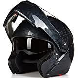 ILM 8 Colors Motorcycle Modular Flip up Dual Visor Helmet DOT (XXL, Red)
