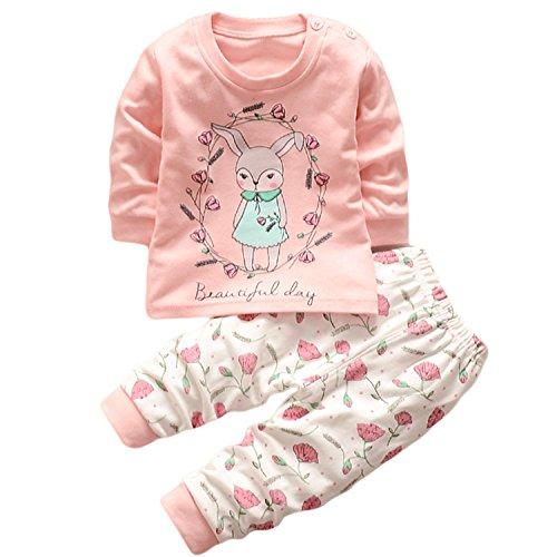 Hengsong Petite Fille Motif Garçons Filles Coton Pyjama Bébé Four Seasons sous-vêtements Ensembles Enfants (80cm)