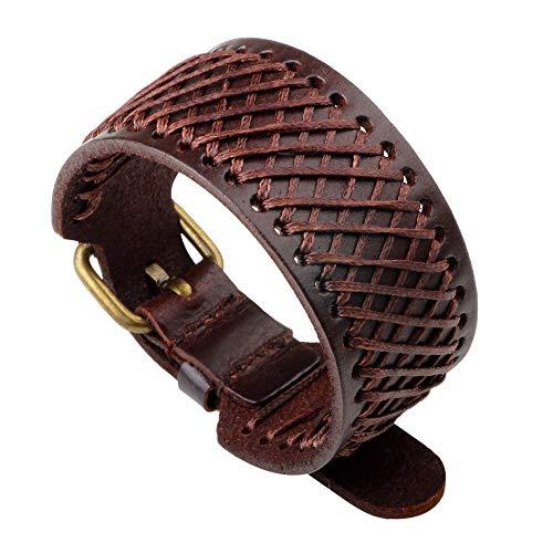 Armband leer mode mannen en vrouwen rok show geweven mesh strap vorm trend persoonlijkheid geschenken creatief uniek vintage bruin