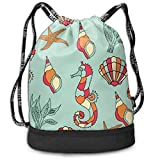 ewtretr Sacs à Cordon,Sac à Dos Funny Seahorse Seashell Drawstring Backpack Compartment Sport Bag