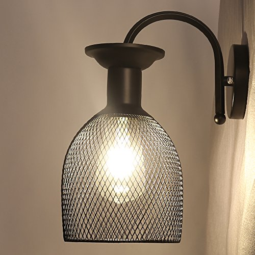 Apliques de Pared Baño Vintage Lámpara de Pared Retro Iluminación de Pared con Pantalla de Jaula de Metal Para Dormitorio, Habitación, Salón, Exterior