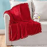 MIULEE Fleece Baby Blanket with Pompom Tassel for Boys, Girls, Kids, Infant, Newborn Soft Flannel Cozy Throw Blanket Fuzzy Plush Warm Boho Decor for Crib Stroller Nap 30'x40' Red