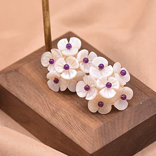 SALAN Orecchini A Bottone Piercing A Forma di Fiore con Conchiglia Naturale Regali per Le Donne Regali di Compleanno per Banchetti Simpatici Gioielli Semplici