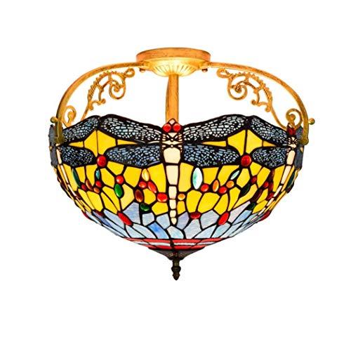 Yjmgrowing Plafonnier de Style Tiffany pour Couloir de Chambre Lampes de Plafond encastrées Dragonfly Stained Glass Shade Éclairage d'entrée d'allée de 16 Pouces,E27,40W (42 * 38cm)