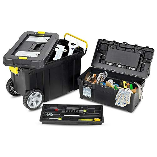 On Shine Mobile Tool Box with Wheels With Tray,Portable Rolling Toolbox Storage,Multi-Purpose Plastic Tool Box With Wheels