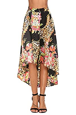 CHIGANT Women High Low Pleated Print/Plaid High Waist Casual Party Skirts