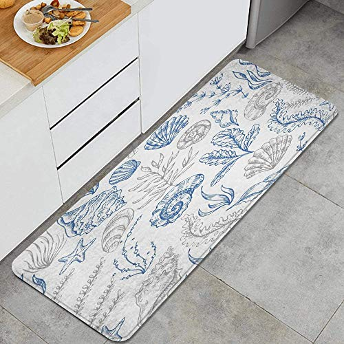 JUHAN Seashell Colorful Star Coral Pattern Old Vintage Nature Trendy Sketch Hand Awaresome Exotic Design Anti Fatigue Kitchen Mat Comfort Floor Mats Non-Slip Easy to Clean Kitchen Rug