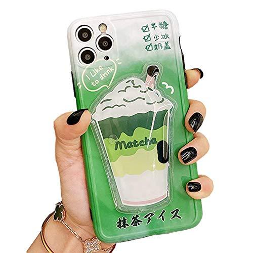 SGVAHY - Custodia liquida per iPhone 7/8/SE2, simpatica custodia protettiva 3D con motivo a fumetti Matcha Pearl Milk Tea Design Quicksand Squeezing Cover antiurto (Matcha, iPhone 7/8/SE2)