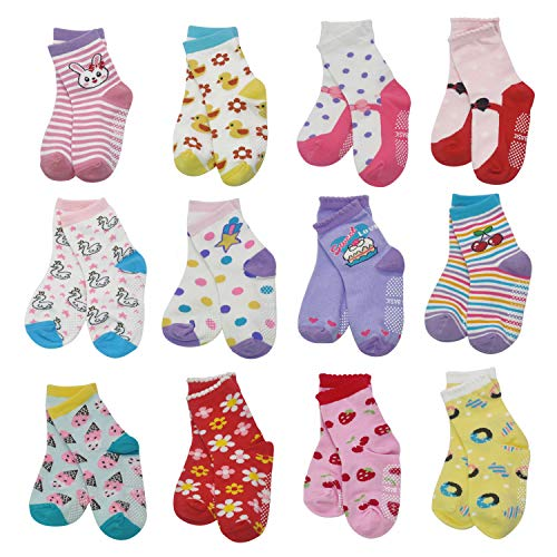 HYCLES 12 36 Months Non Skid Toddler Girl Boy Socks 12 Pairs Infant Baby Grips Socks Anti Skid Cotton Cute Cartoon Car Animals Kid Socks 1 3 Years Flower Style12 Pairs