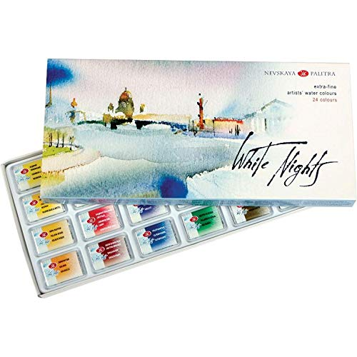 White Nights Watercolor Paint Set 24 Full Pans Cardboard Box