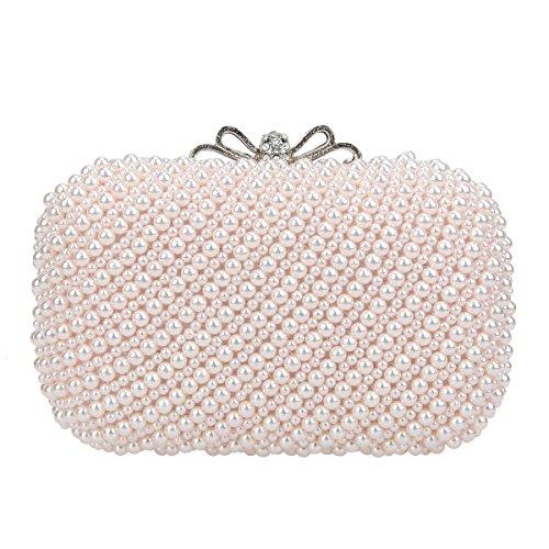 Bonjanvye Bow Wedding Purse Pearl Handbag for Women Evening Bag Pink
