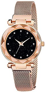 Women's Starry Sky Diamond Quartz Analog Watch Round Dial Wrist Watches with Magnetic Mesh Band - Rose Gold