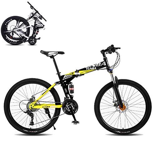 MTTKTTBD Mountainbikes Faltbares Leicht Faltrad mit Doppelte Stoßdämpfung,Quick-Fold-System 26 Zoll 21 Speed Klappfahrrad Folding City Bike mit Gabelfederung