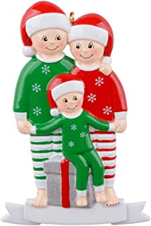 MAXORA Pajama Family of 3 Ornament Personalized Christmas Tree Decoration