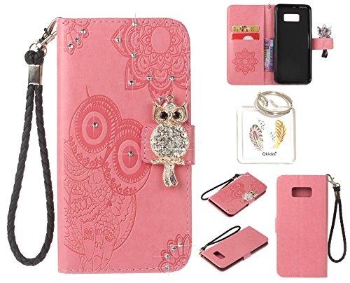 für Samsung Galaxy S8 PU Diamant Strass Niedlich Eule Leder Silikon Schutzhülle Handy case Book Style Portemonnaie Design für Samsung Galaxy S8+ Schlüsselanhänger ( BGT5) (4)