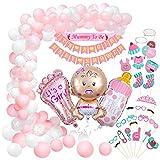 Baby Shower Decoración, Comius Sharp 56 Piezas Baby Shower Globos Baby Shower Accessorios para niñas Cumpleaños Baby Shower Decoración(pink)