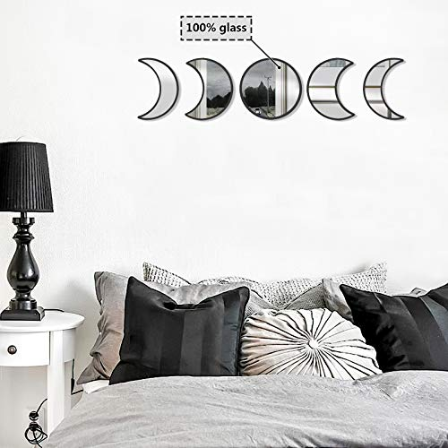 OCIOLI Glass Moon Phase Mirror Set Scandinavian Natural Decor Clear Imaging Bohemian Decor Mirror Wooden and Glass Moonphase Mirrors Boho Accents Wall Décor for Room Christmas Decoration