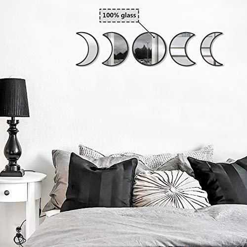 Juego de Espejos de Fase Lunar de Cristal decoración Natural escandinava decoración Bohemia, decoración de Pared, Espejo de Luna Bohemia