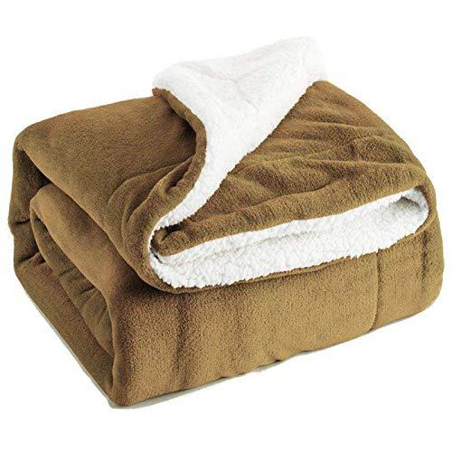 KILLM Heizdecke Fleece-Decke Doppelseitige Superweiche Umkehrbare Bett- Und Couchdecke Warme Und Leichte Deko-Decke Größe 130 * 160 cm,Yellow
