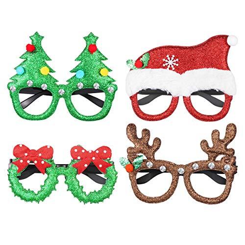 STOBOK Weihnachten Brille Lustige Weihnachtsbaum Geweihe Mütze Schleife Design Auge Gläser Rahmen Weihnachtskostüm Party Favor 4 Stück (Sortierte Muster)