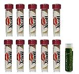 HOTLIX TOOTHPIX Cinnamon Toothpix .16 oz (14-16 stix per tube) Gift Set - 10 Tubes with a Jarosa Bee Organic Peppermint Lip Balm by Jarosa