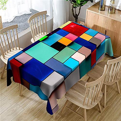 XXDD Patrón de Costura de celosía a Rayas 3D Mantel Impermeable Caja de Color Rectangular Mantel Impermeable y a Prueba de Polvo A1 135x180cm